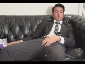 【ゲイ動画ビデオ】COOLな雰囲気のスーツ姿のイケメン営業マンが竿を垂直に勃起させてローションを使ったオナニーでダラダラと射精!