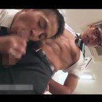 【ゲイ動画】休日出勤中にオナっていたところをイケメン上司に見つかりしゃぶられシコられてイカされるメガネの後輩社員!